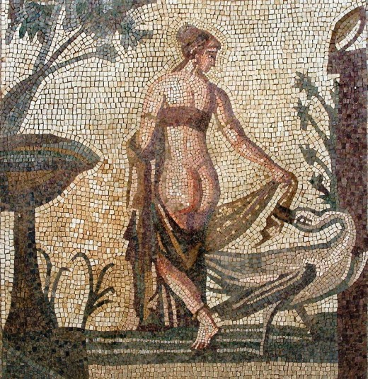In this third century Mosaic Zeus seduces Leda... believe it or not this is the version with the LEAST amount of nudity I could find... dirty minded artists ;)