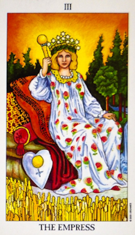 "The most common image of the ""Empress"" Tarot card."