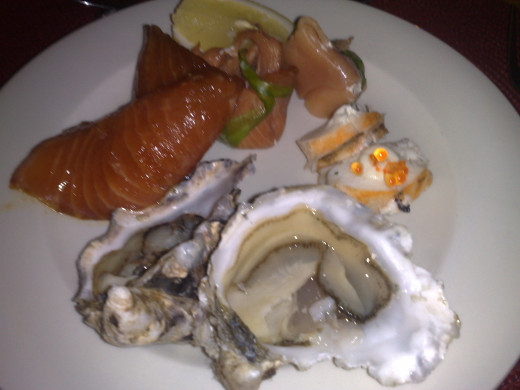 Oysters and salmon starter
