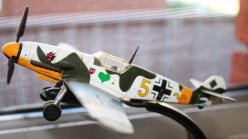 A model of an ME-109 German fighter aircraft.