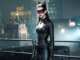 Anne Hathaway as Catwoman Selina Kyle in the movie the Dark Knight Rises.