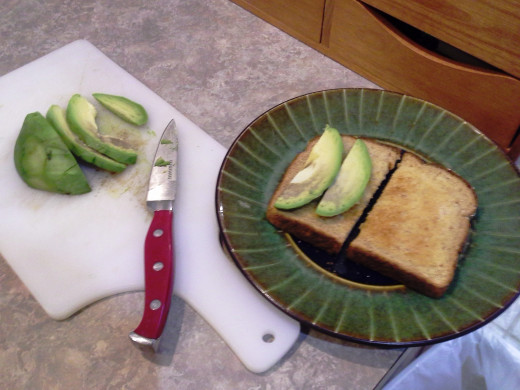 Step Fifteen: Top half of your sandwich with your avocado slices