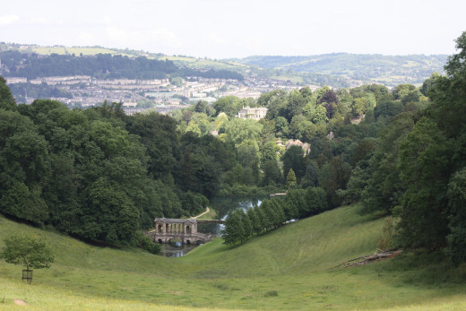 A beautiful view of the city of Bath from Prior Park