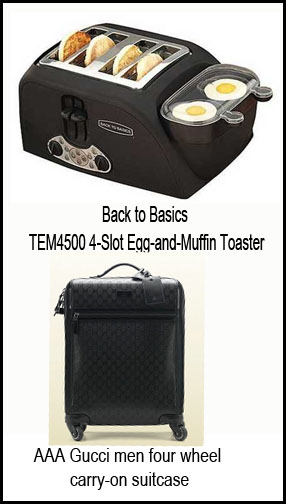 Make a quick and yummy breakfast with a 2-in-1 toaster for bread and eggs. While for men who are into business traveling a luggage with elegant design is perfect for them
