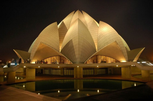 The Lotus Temple (Bahai Temple) At Night.