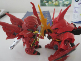 In addition to the regular model lines, Bandai has also produced a line of minature models. In this case, the examples here are the Sinanju and the Sazabi.