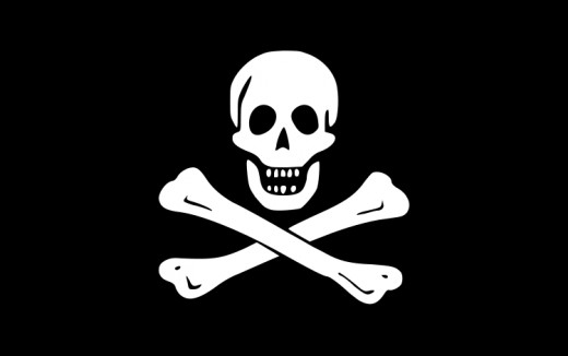"The traditional ""Jolly Roger"" of piracy."