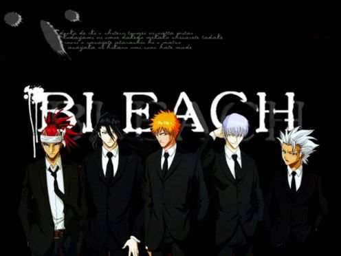 from left to right Renji (vice captain) Byakuya (Captain ) Korosaki Ichigo (substitute shinigami) Ichimaru Gin Hitsugaya Toshiro (captain of 1oth squad :D me liky)