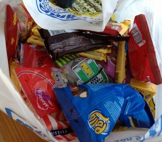 A bag of Swedish snacks, ready to be sent off somewhere.