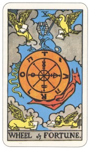 """The most common """"Wheel of Fortune"""" Tarot card."""
