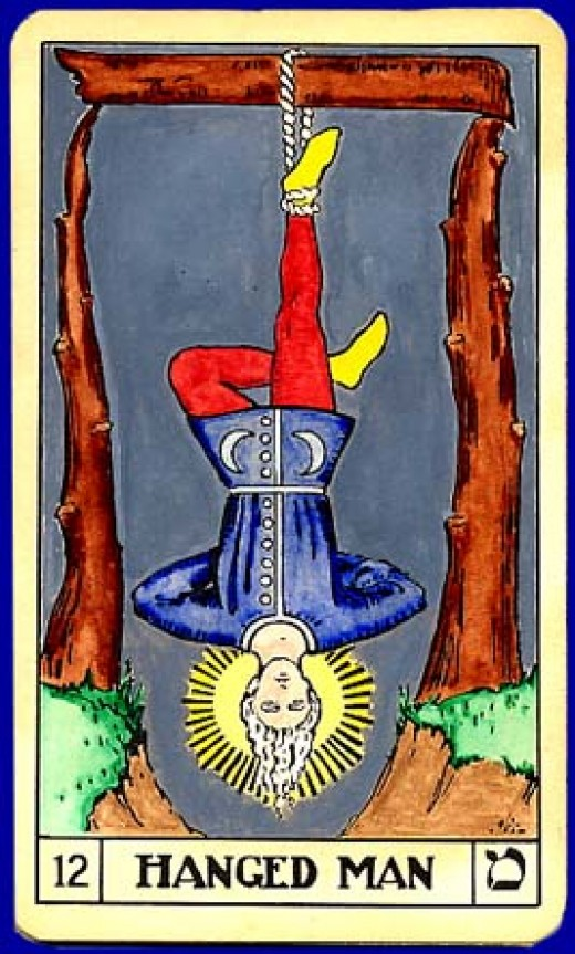 "The most common Tarot card for ""The Hanged/Hanging Man."""