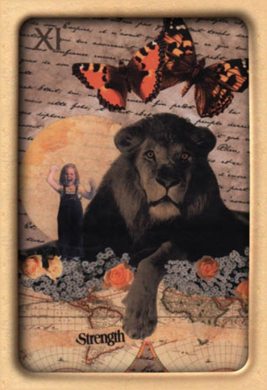 "This ""Strength"" Tarot card contains a girl rather than a woman."