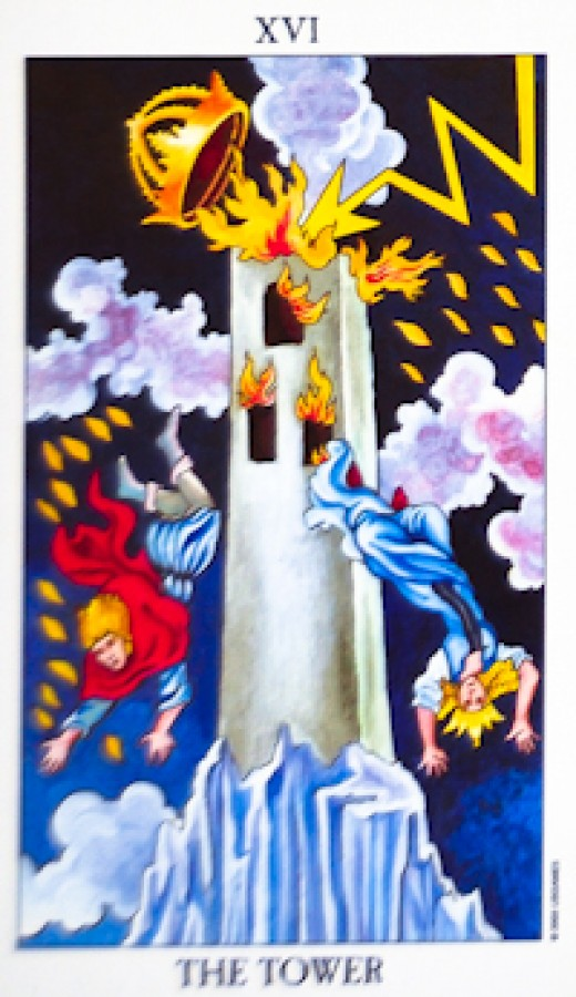 "The most common Tarot card for the ""Tower."""