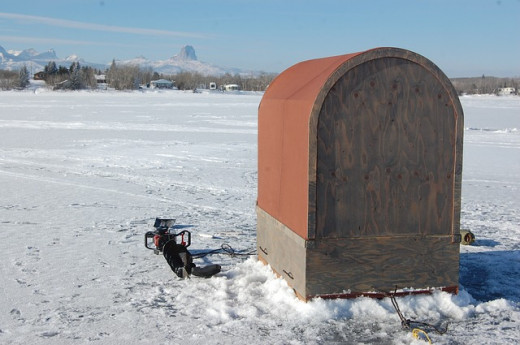Ice fishing in Montana winters.