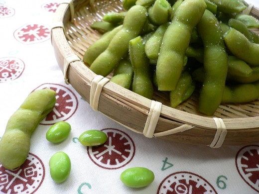 Edamame, both in the pods and shelled. For this recipe you can use pre-shelled edamame or cook them in the pods and pop them out yourself after they have cooled sufficiently.