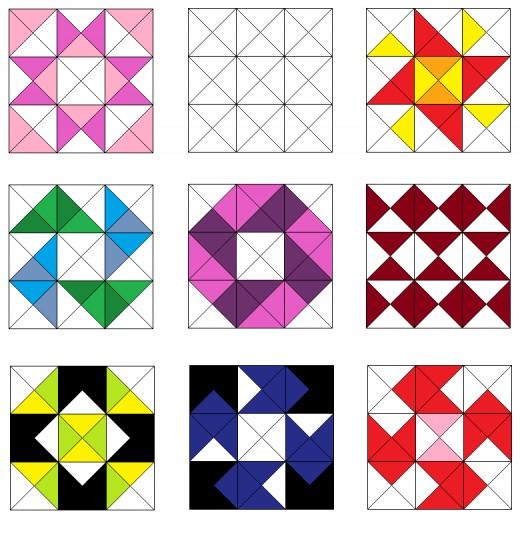 Arrow and pinwheel quilt blocks