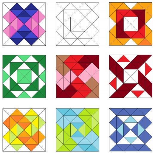 Square pattern quilt blocks