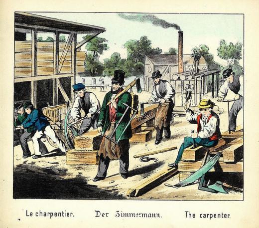 Nineteenth Century carpenters at work