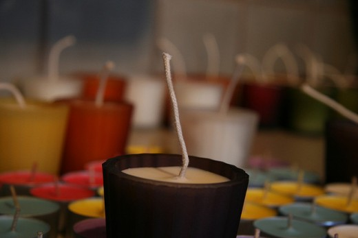 Candle with long wick.