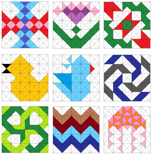 Flowers, birds, jellyfish, pinwheel, and zigzag quilt blocks.
