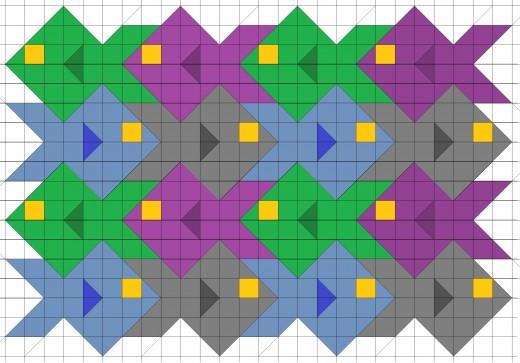Tessellating school of fish quilt pattern.
