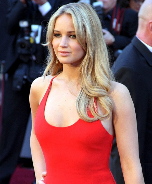 Jennifer Lawrence attending the Academy Awards nominated for her performance in Silver Linings Playbook