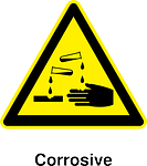 Hazard signage for corrosive materials