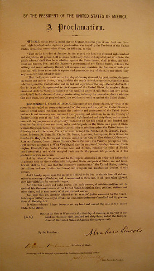 The Emancipation Proclamation signed by Abraham Lincoln