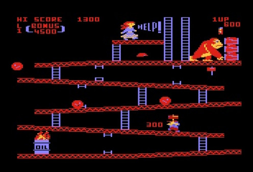 Donkey Kong stars Mario from the Mario brothers games. It is one of the most famous Atari and a Arcade video game ever.