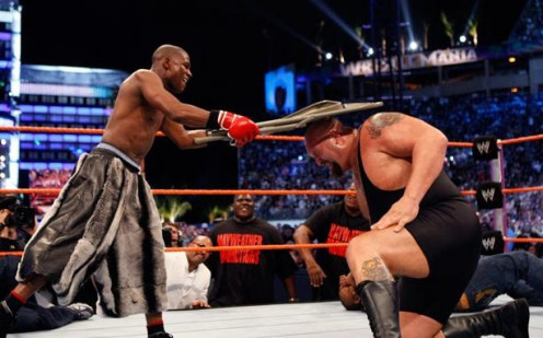 Boxer Floyd Mayweather took on Wrestler Big Show Ina Wrestlemania event and won.