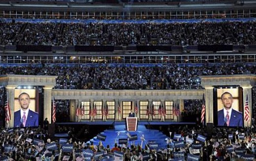 Nominee Obama accepting his party's nomination before an estimated crowd of 84,000.