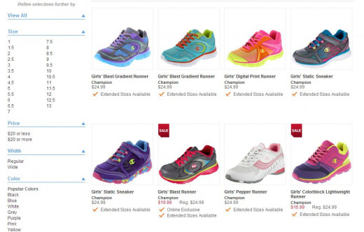 A snipe of what you can find on the Payless website.