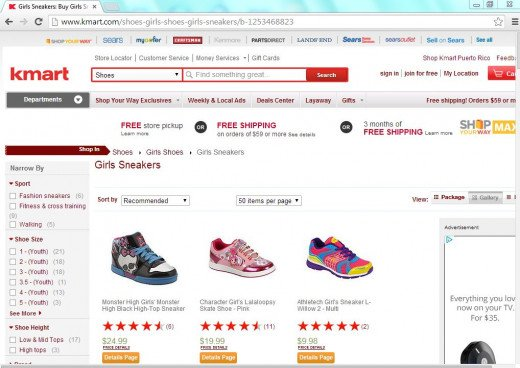 Snipe of girl's shoes on the K-mart website.