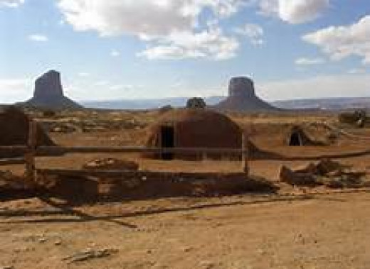 Traditional Navajo Hogan with a breathtaking view