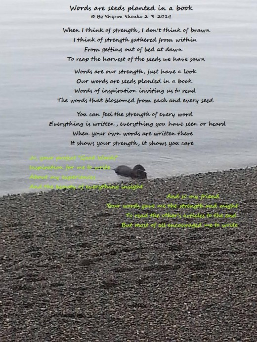 Thank you Maureen for the photo.  Poem by Shyron Shenko