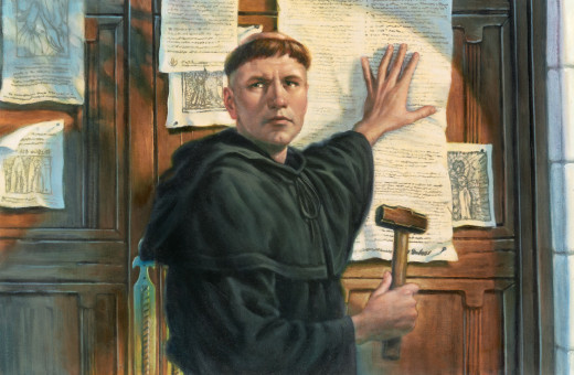 Martin Luther posting his Ninety-Five Theses on the door of Wittenberg University on 31 October 1517