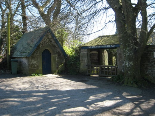 The Mawnan Church's Bier House and Lych Gate.