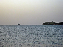 To the right is El Morro Fort where Correa fired the first warning shots of World War 1
