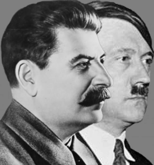 Stalin in foreground, Hitler background
