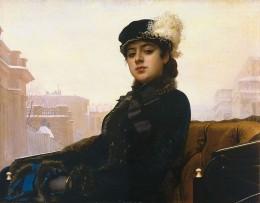 """""""Portrait of an Unknown Woman"""" or """"A Stranger"""" by Ivan Kramskoi (Neznakomka, 1833)"""