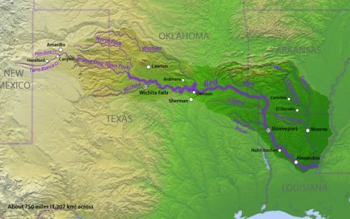 The Red River forms a boundary with Oklahoma and a small part of Arkansas.