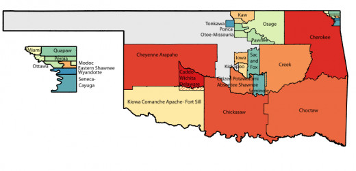 Notice the Kiowa-Comanche-Apache Lands in the southwest corner of Oklahoma, right on the Red River.