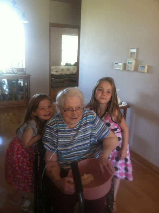 This is the last day I saw my Grandma alive.  She is here with my granddaughters and her great-great-granddaughters.