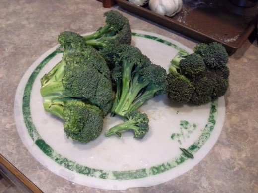 Step Two: Chop up your broccoli heads into pieces