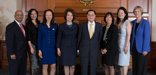 Angela Chao and family at Harvard Business School