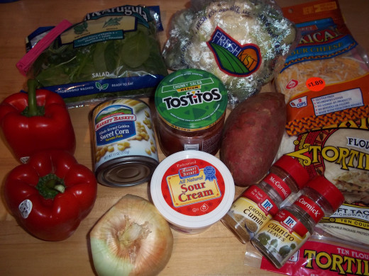 Ingredients for the enchilada casserole.