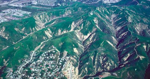 Debris flow scars formed in LA county in 1968-1969.