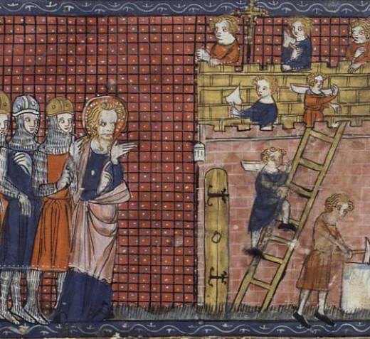 Saint Valentine bossing around his plebeians