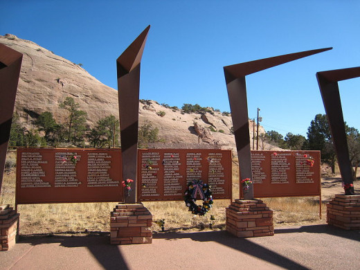 The Navajo Nation World War II Memorial adjacent to Window Rock.