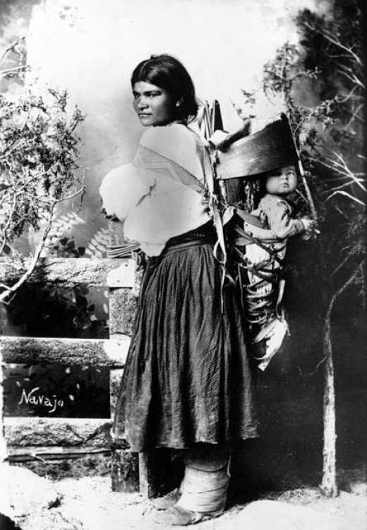 Navajo woman and child, circa. 1880-1910.